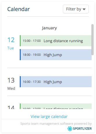 Using the calendar widget – Sportlyzer